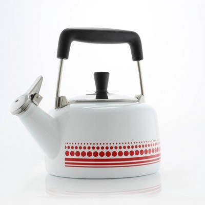 Chantal 1.4qt Freida Teakettle - White with Red Decal