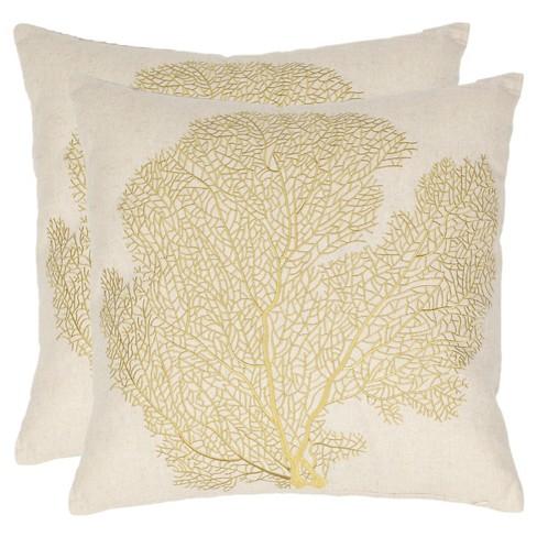 Yellow Coral Throw Pillow 2pk 22 Quot X 22 Quot Safavieh 174 Target
