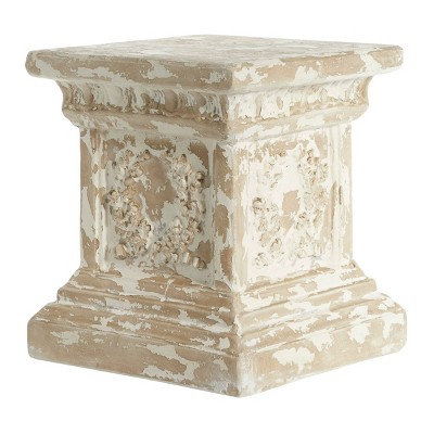 Accent Table Square Distressed Finish, Beige, And White - Olivia & May