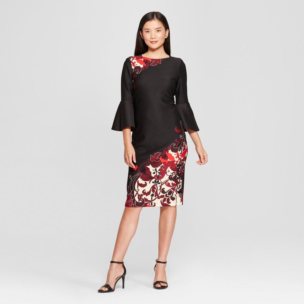 Women's Floral Print Bell Sleeve Scuba Midi Dress - Melonie T - Black 6