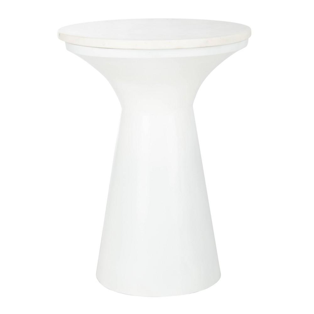 Mila Pedestal End Table White Marble - Safavieh