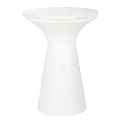 Mila Pedestal End Table White Marble - Safavieh - image 1 of 4