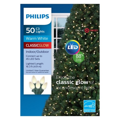 Philips 50ct Christmas LED C3 String Lights Warm White GW : Target