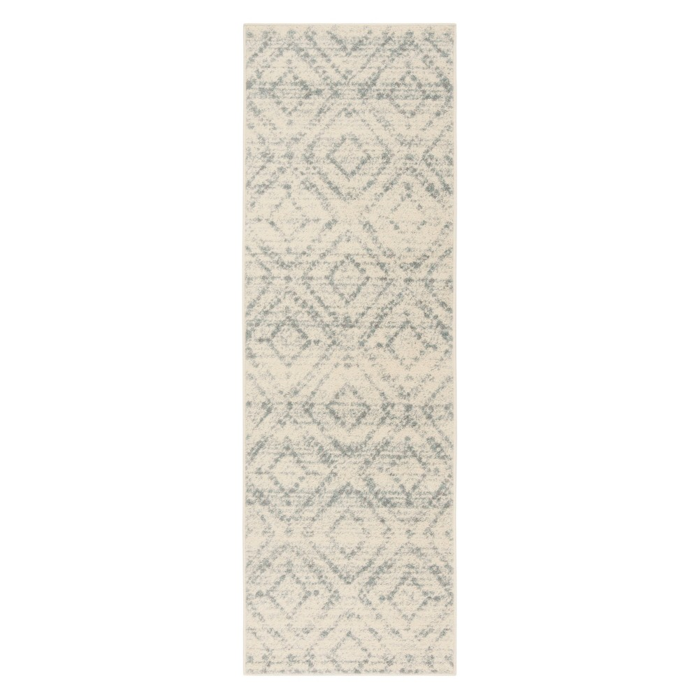 Ivory/Light Blue Geometric Loomed Runner 2'6X8' - Safavieh, Ivory Nlight Blue