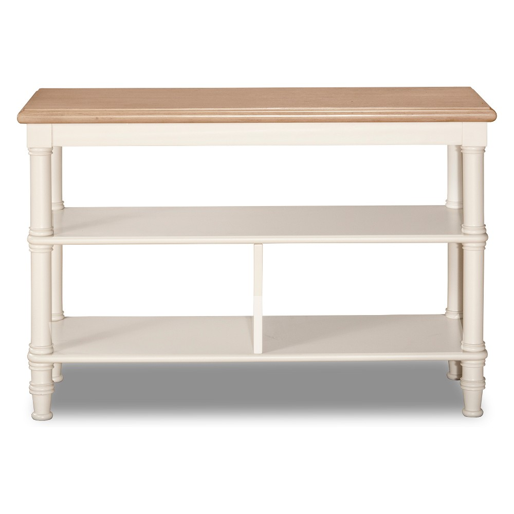Image of Seneca Basket Stand Wood Driftwood Top/Sea White Base Baskets Not Included - Hillsdale Furniture