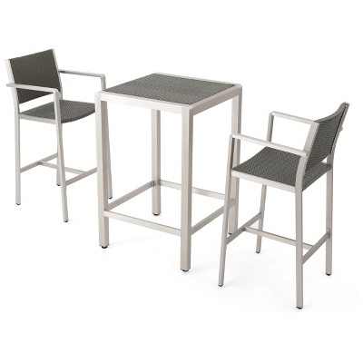 Merveilleux Cape Coral 3pc All Weather Wicker/Metal Patio Bar Set   Gray   Christopher  Knight Home