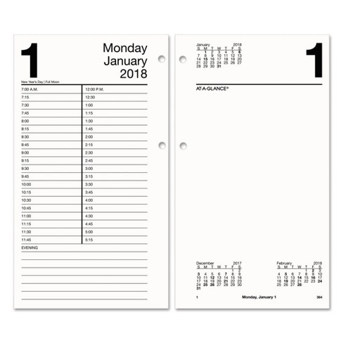 2018 At A Glance Large Desk Calendar Refill 4 1 2 X 8 White Target