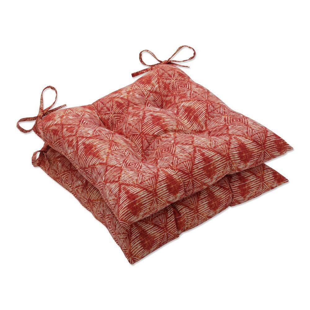 2pk Outdoor Indoor Wrought Iron Seat Cushion Set Nesco Sunset Red Pillow Perfect