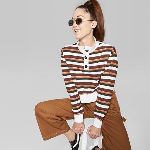 Women's Striped Long Sleeve Button Mockneck Sweatshirt - Wild Fable™ Orange Penny XXL - image 1 of 3