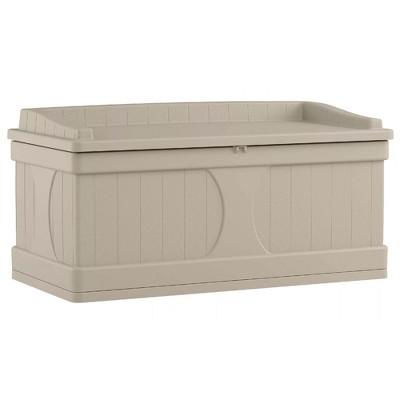Suncast DB9500 99 Gallon Resin Outdoor Patio Storage Deck Box with Seat, Taupe
