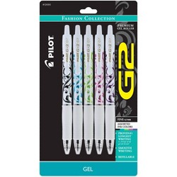 Pilot 5ct G2 Fashion Collection Gel Ink Pens Fine Point 0.7mm