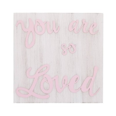 Little Love By NoJo You Are So Loved Square Wood Nursery Wall Décor - Pink and White