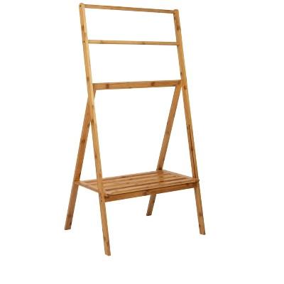 Mind Reader Multi-Level Folding Bamboo Drying Rack with Shelf