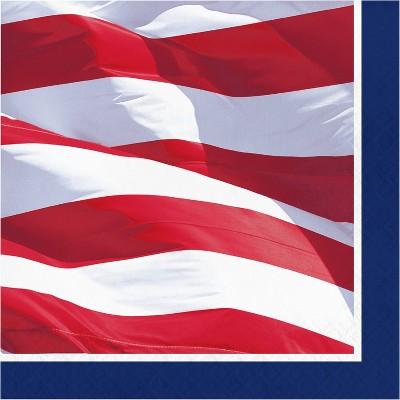 48ct Waving Flag Fourth of July Napkins
