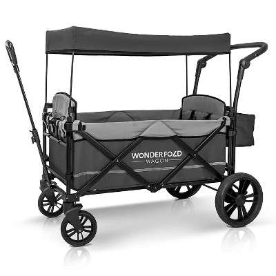 WONDERFOLD X2 2-Passenger Pull/Push Quad Wagon with Adjustable Handle Bar, Removable Canopy, Safety Seats with 5-Point Harness, One-Step Foot Brake