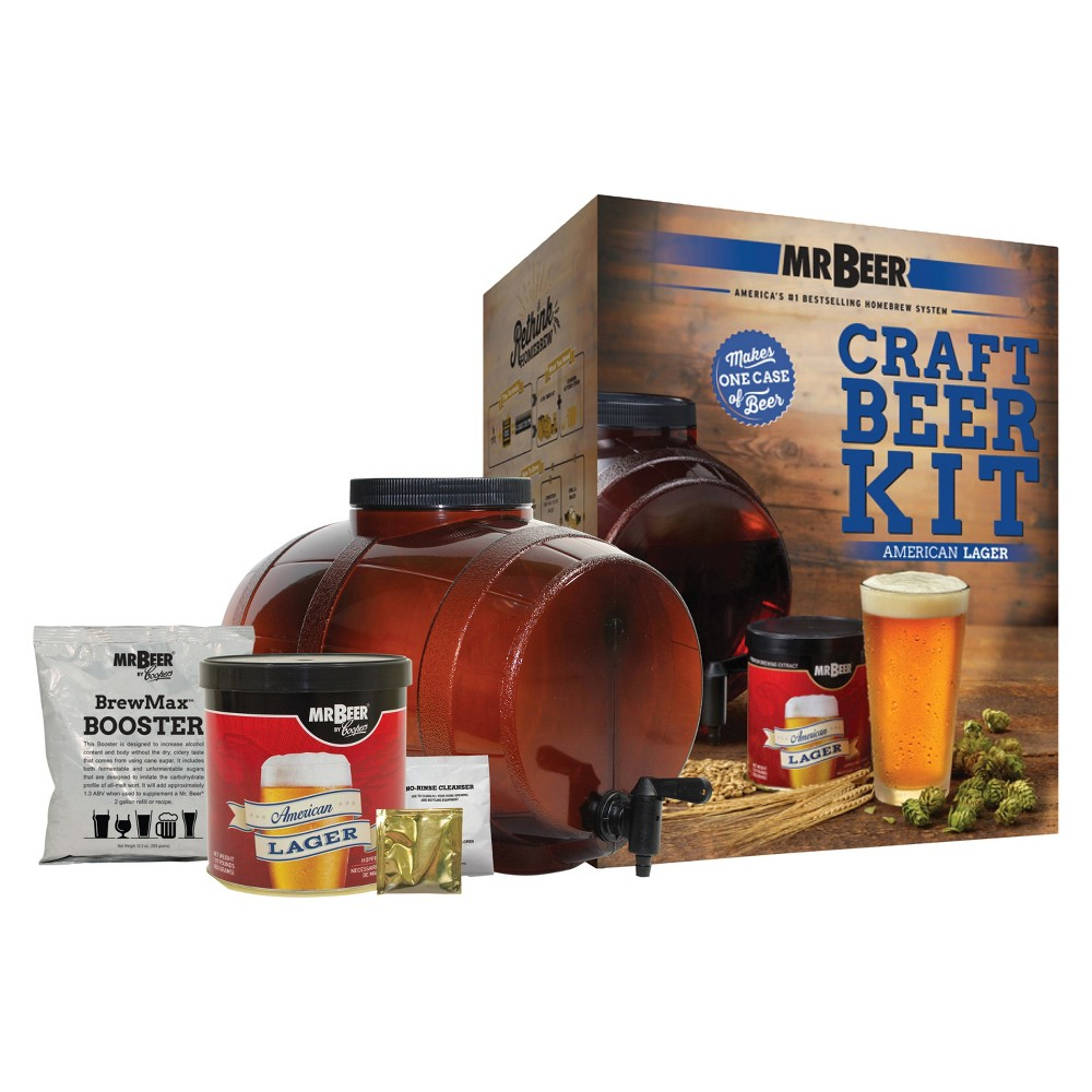 Image of Mr. Beer American Lager Craft Beer Making Kit, Brown