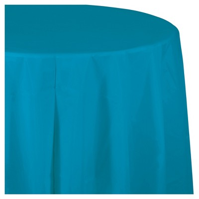 Turquoise Blue Round Plastic Tablecloth