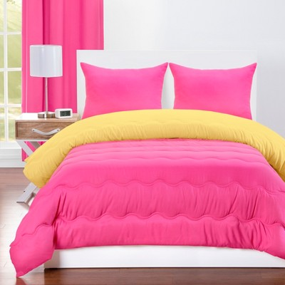Full/Queen Reversible Comforter With Sham Set Magenta/Laser Lemon - Crayola