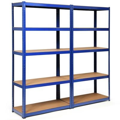 Costway 2PCS 72''Heavy Duty Steel 5 Level Garage Shelf Storage Adjustable Shelves Silver\Blue