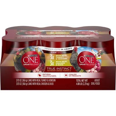 Purina ONE SmartBlend True Instinct Tender Cuts In Gravy with Real Turkey & Chicken Wet Dog Food - 13oz/6ct Variety Pack
