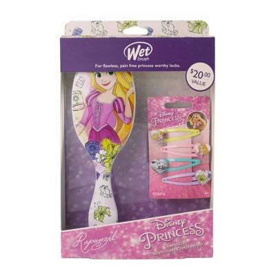 Wet Brush Rapunzel Original Detangler & Hair Snap Clip Set - 4pc