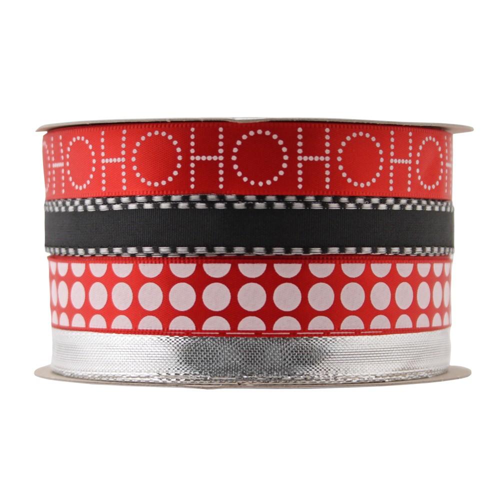 Ho Ho Ho/Black/Polka Dot/Silver Ribbon - Wondershop, Red