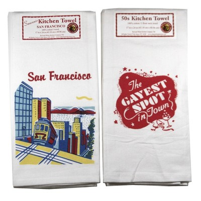 """Tabletop 24.0"""" San Fran Cable Car/ Gayest Spot Kitchen Towel Usa Cotton Red And White Kitchen Company  -  Kitchen Towel"""