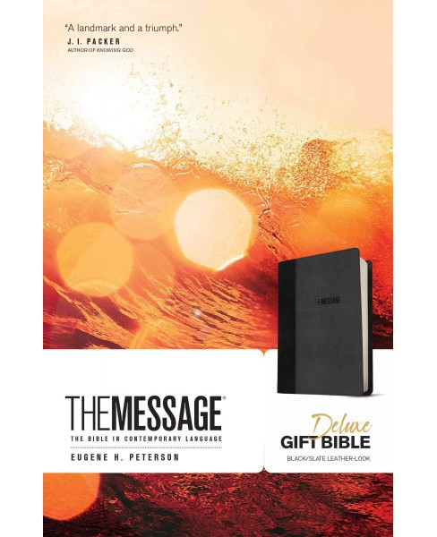 Message : The Bible in Contemporary Language, Black/Slate, Leather-Look (Paperback) (Eugene H. Peterson) - image 1 of 1