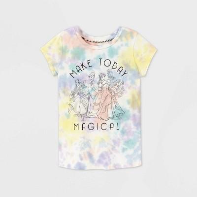 Girls' Disney Princess 'Make Today Magical' Tie-Dye Short Sleeve Graphic T-Shirt - Disney Store