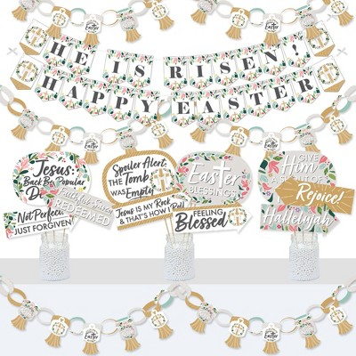 Big Dot of Happiness Religious Easter - Banner and Photo Booth Decorations - Christian Holiday Party Supplies Kit - Doterrific Bundle