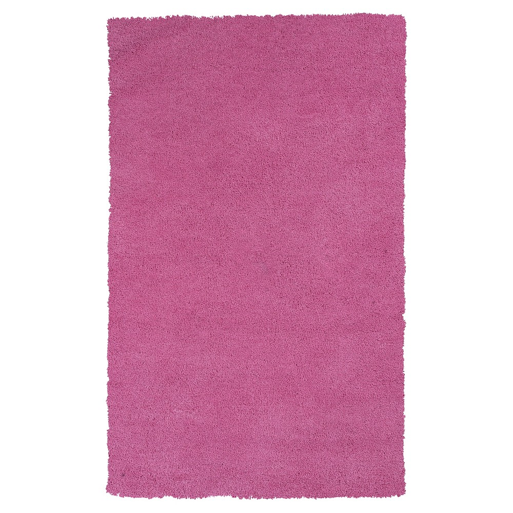 Hot Pink Solid Woven Area Rug 3'3