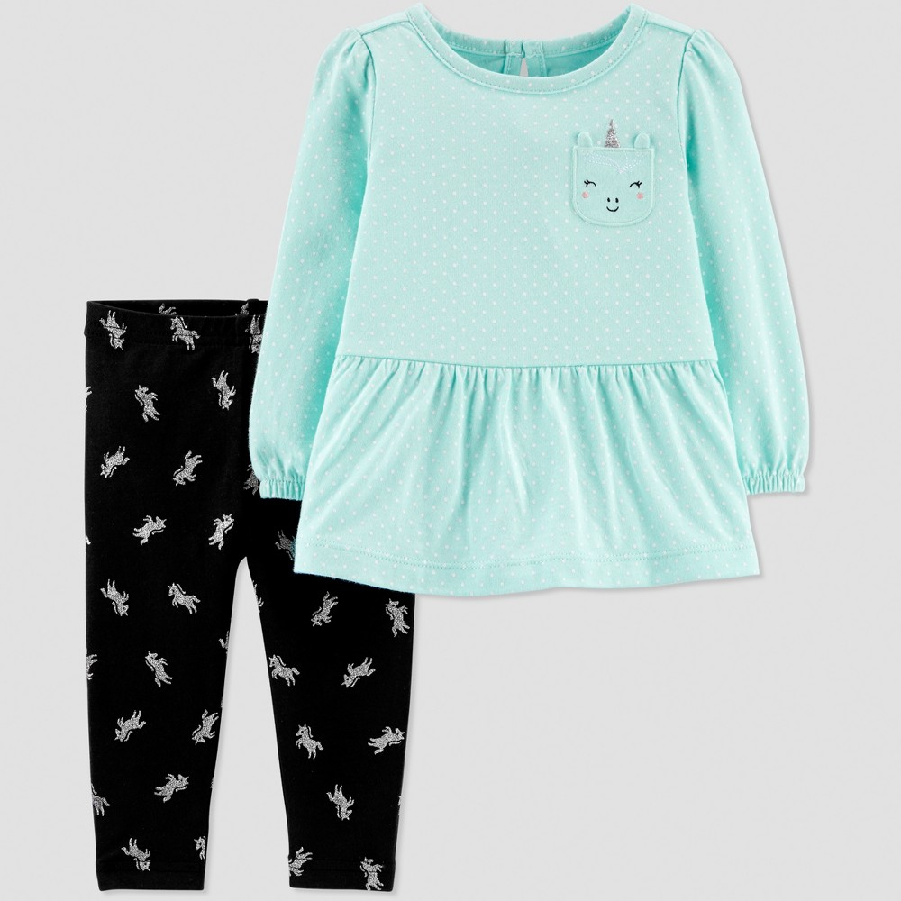 Baby Girls' 2pc Unicorn Pant Set - Just One You made by carter's Mint Blue/Black 6M