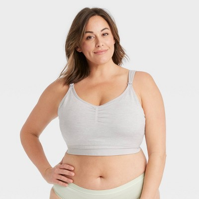 Women's Plus Size All-in-One Nursing and Pumping Bra - Auden™ Heather Gray 3X