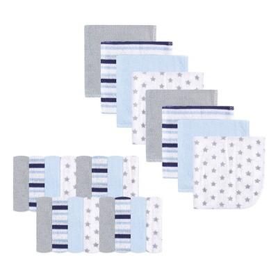 Luvable Friends Baby Boy Super Soft Bundle Washcloths, Stars Stripes, One Size