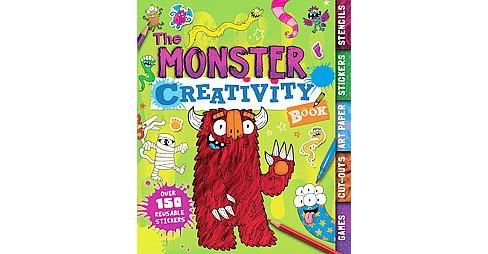 Monster Creativity Book : Games, Cut-outs, Art Paper, Stickers, Stencils (Paperback) - image 1 of 1