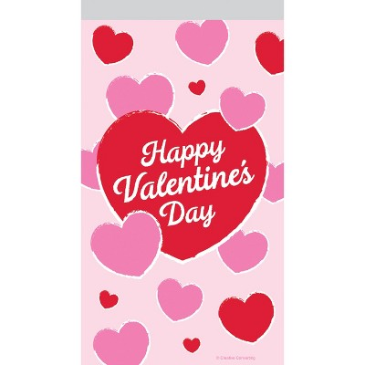 12ct Valentine Hearts Zipper Favor Bags Red/Pink