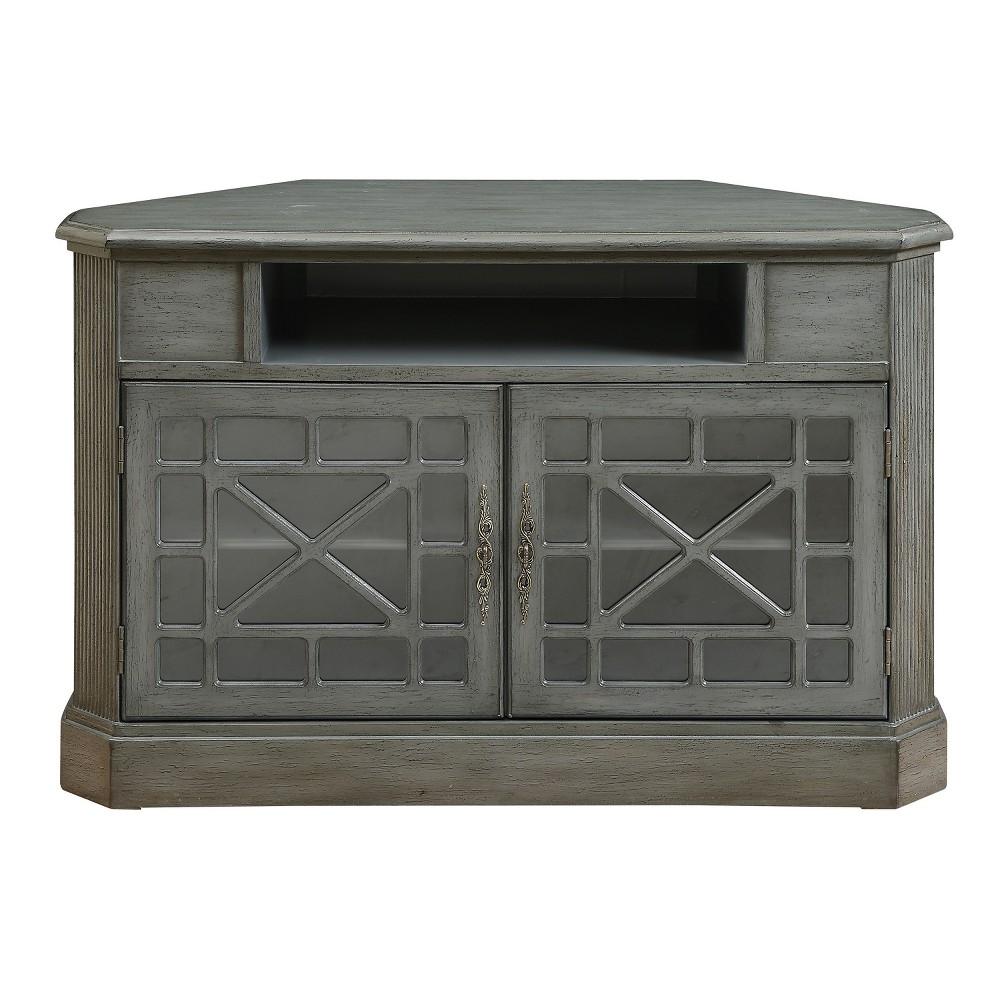 Jacey Two Door Corner Media Cabinet - Grey - Christopher Knight Home, Gray
