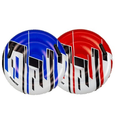 """Pool Central Set of 2 Red and Blue Racing Saucers Inflatable Swimming Pool Floats, 28.5""""D"""