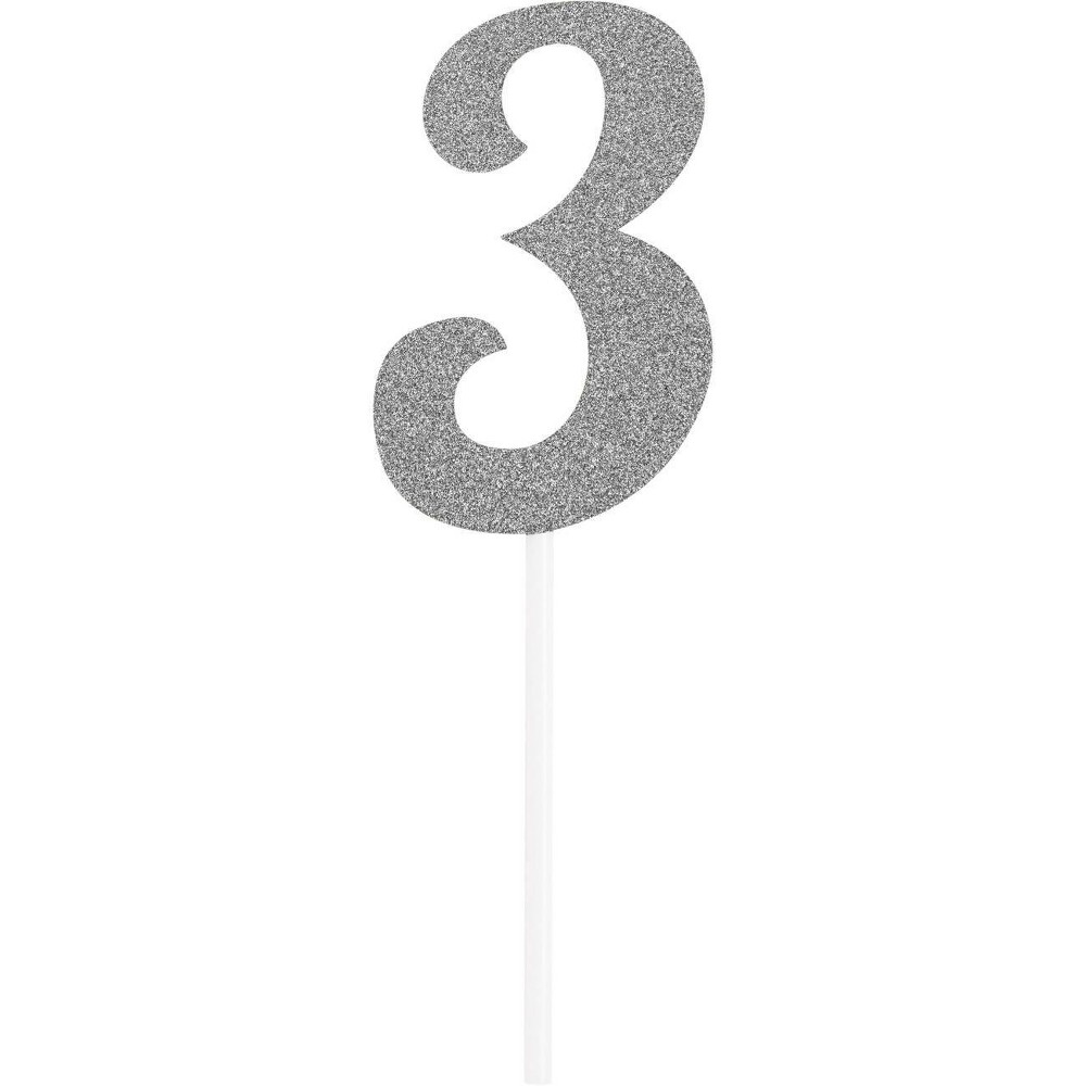 Number 3 Glitter Cake Topper Party Decoration Silver