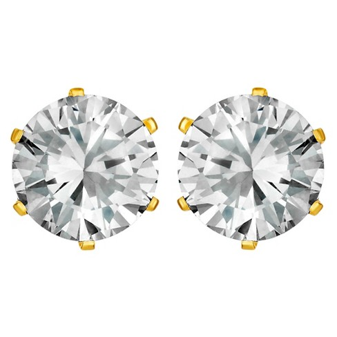 Women S G Set Cubic Zirconia Stud Gold Plated Stainless Steel Earrings 8mm Clear