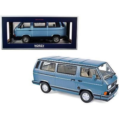1990 Volkswagen Multivan Bus Light Blue Metallic 1/18 Diecast Model Car by Norev