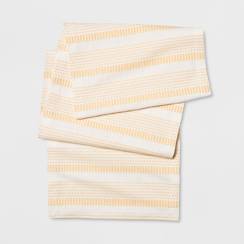 "Image of ""108""""x14"""" Pick Stitch Runner Neutral/Yellow - Opalhouse"""