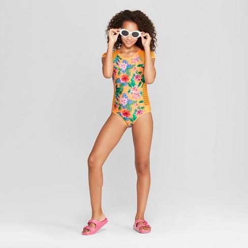 0f5783b446524 Girls  Amazon Beauty One Piece Swimsuit - Art Class™ Yellow   Target