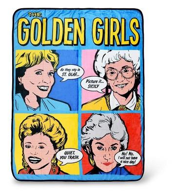 Just Funky Golden Girls Pop-Art Throw Blanket   Golden Girls Quotes   60 x 45 Inches