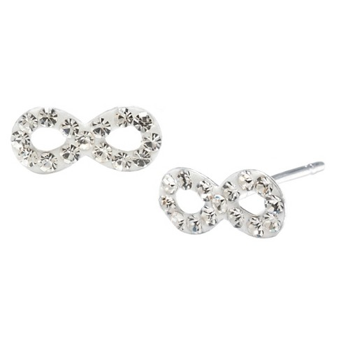 Silver Plated Brass Clear Crystal Infinity Stud Earrings - image 1 of 1