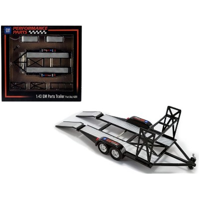"""Tandem Car Trailer with Tire Rack Black """"GM Performance Parts"""" for 1/43 Scale Model Cars by GMP"""