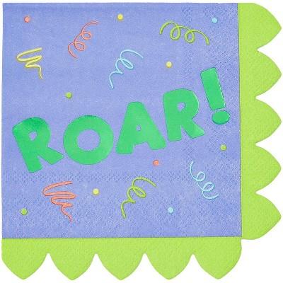 "Blue Panda 50-Pack Dinosaur Roar Disposable Paper Napkins 6.5"" Kids Birthday Party Supplies"
