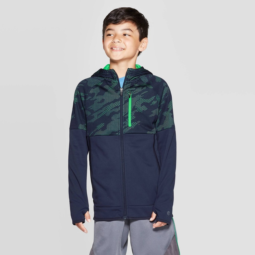 Image of Boys' Premium Tech Fleece Full Zip Hoodie - C9 Champion Navy Blue L, Boy's, Size: Large, Xavier Blue