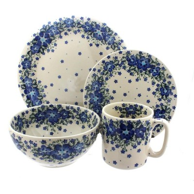 Blue Rose Polish Pottery Melanie 4 Piece Place Setting - Service for 1