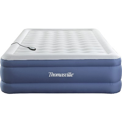 Thomasville Duratex Puncture Resistant Flocked Pillow Top Elevated Inflatable Air Mattress with Internal Air Pump and Connected Controller, Queen